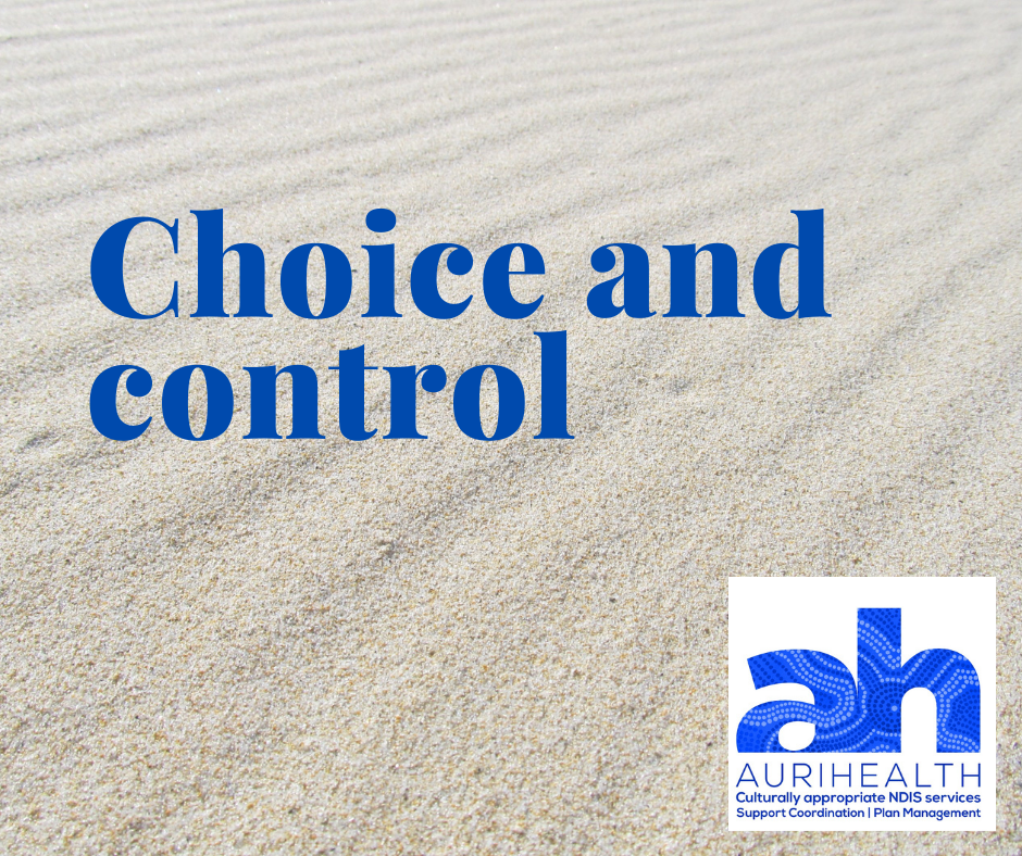 "Blue words ""choice and control"" sit on a sand background. The AuriHealth logo sits at the bottom right corner."