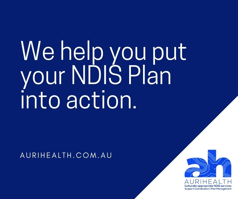 Text of We help you put your NDIS Plan into action on blue and white background